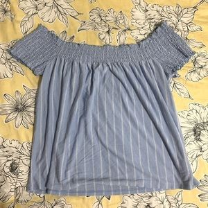 AEO Blue and White Striped Off The Shoulder Shirt